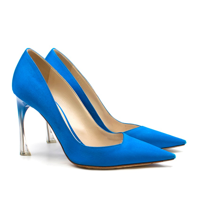 Christian Dior Songe Perspex-Heel Blue Pumps