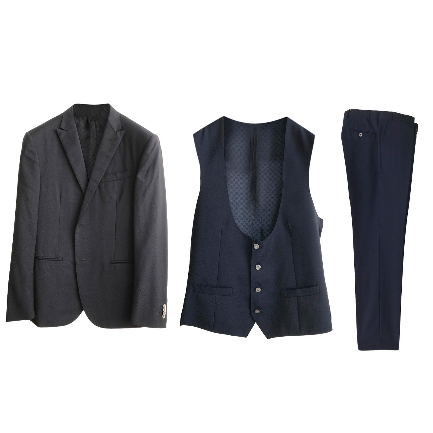 Corneliani Dark Blue Wool Three Piece Suit