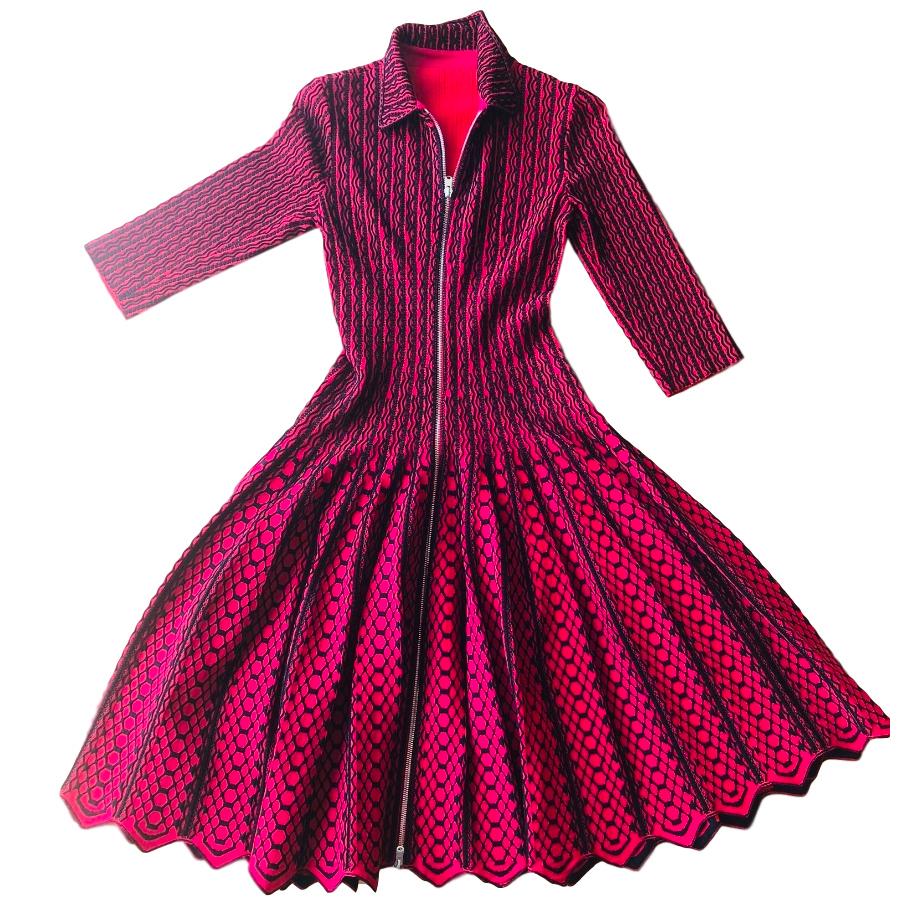 Alaia Pink & Black Knit Zip-Front Dress