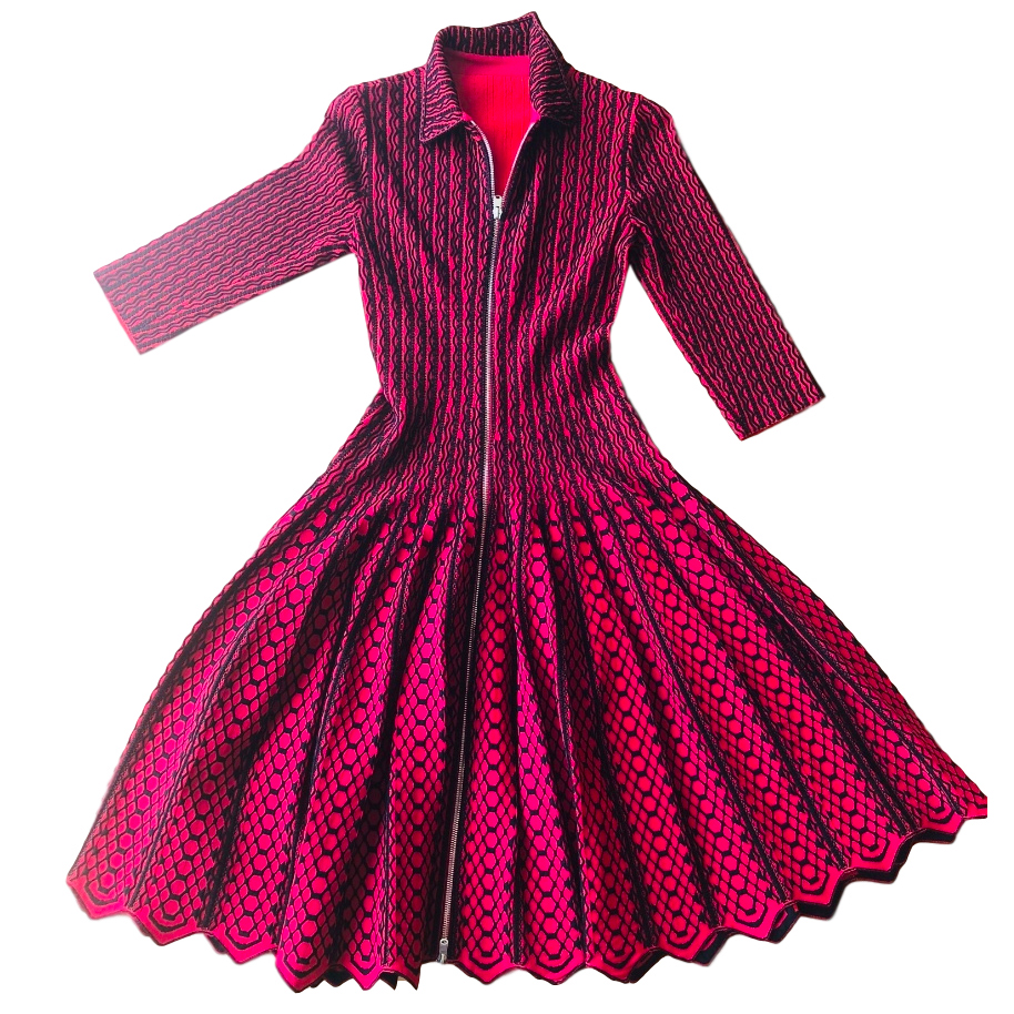 Alaia Pink & Black Knit Zip-Front Dress