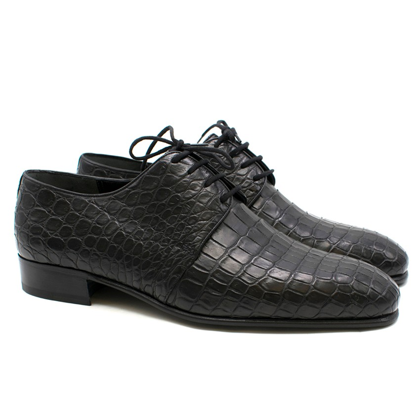 Stefano Ricci Black Crocodile Leather Derby Shoes