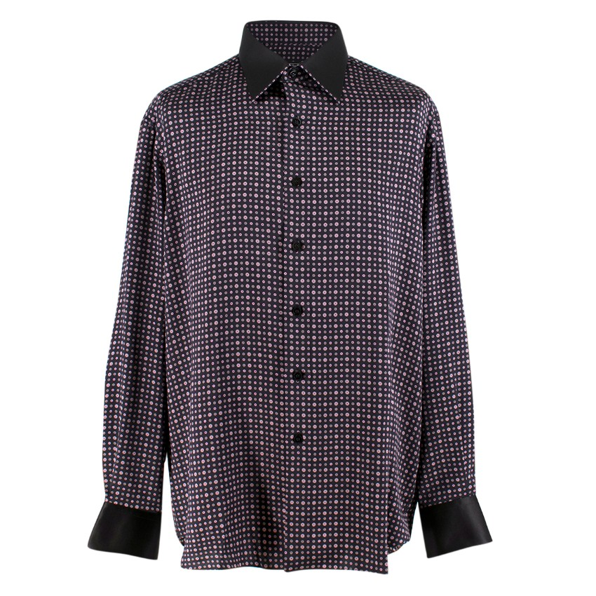 Stefano Ricci Pink and Black Spotted Silk Shirt