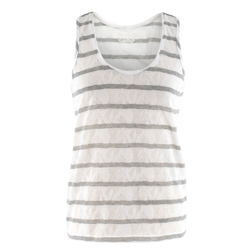 AY (Marie C) Bella Jones White and Grey Striped Tank Top