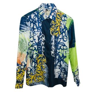 Versace Collection multi-print silk blouse