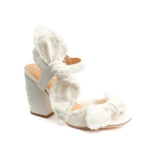 Bill Blass Carmen 90 White Canvas Sandal