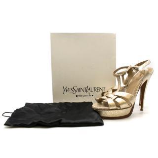 Yves Saint Laurent Metallic Gold Tribute Sandals