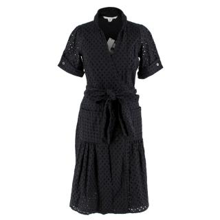 Diane von Furstenberg Black Midi Bellette Wrap Dress