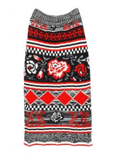 MSGM knitted abstract wool blend straight skirt