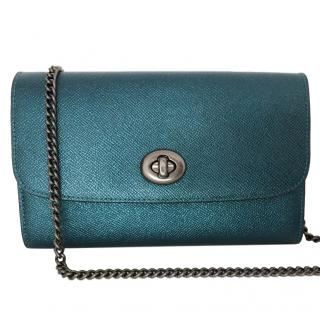 Coach metallic blue leather shoulder bag