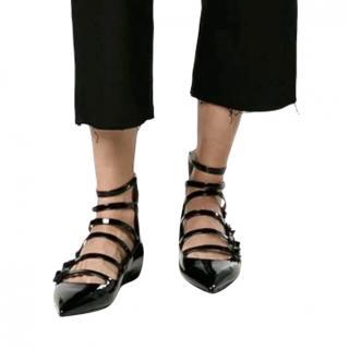 Fendi Black floral embellished patent leather ballet pumps