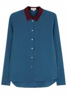 Stella McCartney Blue Silk Button Up Blouse with Plum Contrast Collar