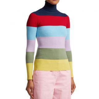 JoosTricot Striped Roll-Neck Cotton-blend Sweater - New Season