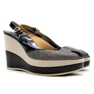 Hogan Black & White Gingham Checked Wedge Sandals