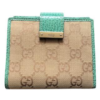 Gucci monogram canvas & leather wallet