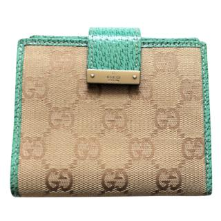 Gucci monogram canvas & leather wallet
