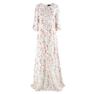 The Kooples Floral Print Long Silk Dress