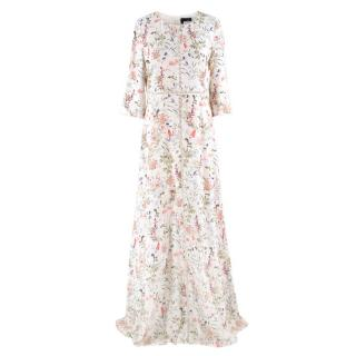 The Kooples Floral Print Long Silk Dress