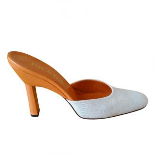 Prada Sabot linen and leather mules
