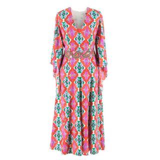 Andrew Gn Printed Long Silk Dress
