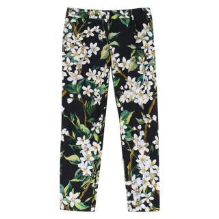 Dolce & Gabbana Floral Print Cotton Trousers
