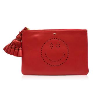 Anya Hindmarch Red Georgiana Smiley Leather Clutch
