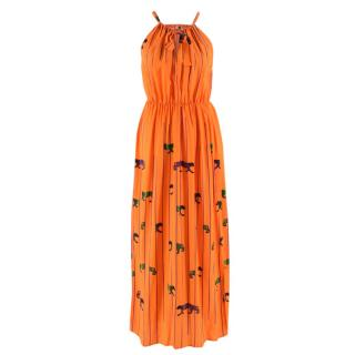 MSGM Orange Striped Tiger Print Long Silk Dress