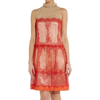 Alberta Ferretti Papaya-red Lace Dress