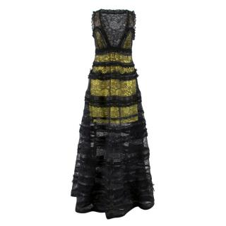 Givenchy Black Tiered Lace Gown
