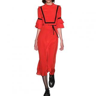 Vivetta Red Ruffled Bib Midi Dress