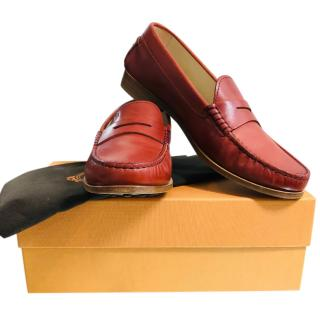 Tod's Red Leather Loafers