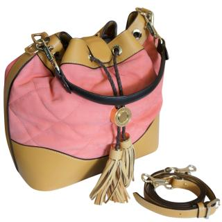Aspinal salmon pink quilted-leather bucket bag