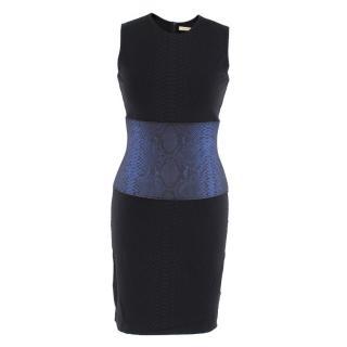 Christopher Kane Black and Blue Snake Print Dress