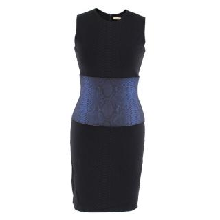 Christopher Kane Black and Blue Snake Print Dress