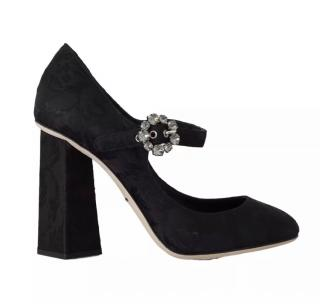Dolce & Gabbana Black brocade crystal pumps