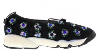 Dior Fusion Floral-Embellished Black Mesh Sneakers