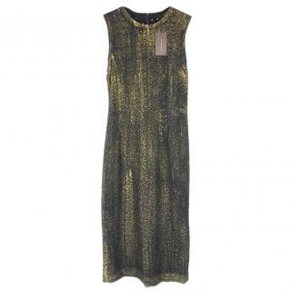 Bottega Veneta Black Washed Metallic Midi Dress