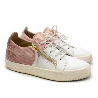 Giuseppe Zanotti Crushed Velvet & Leather Sneakers