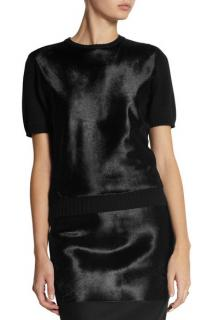 Victoria Beckham Calf Hair-Paneled Wool Sweater