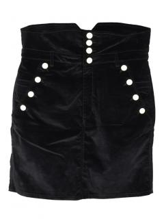 Isabel Marant black Nelly velvet high-rise skirt