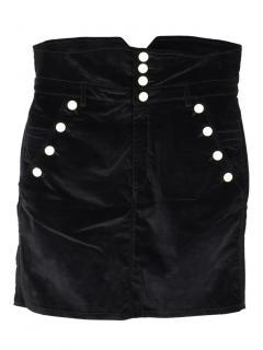 Isabel Marant black Nelly velvet high-rise skirt