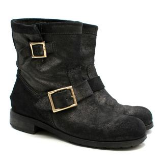 Jimmy Choo Black Glitter-effect Suede Ankle Boots