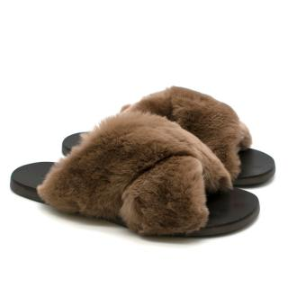 Barneys New York Brown Rabbit Fur Crisscross Sandals