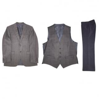 Corneliani Brown Wool Three-Piece Suit
