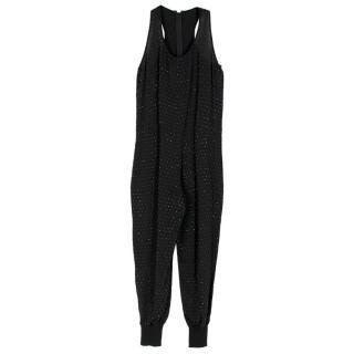 Stella McCartney Black Crystal Stud Embellished Jumpsuit