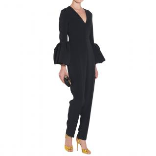 Roksanda Black Margot Bell Sleeve Jumpsuit