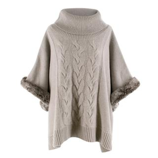 N.Peal Cashmere and Rabbit Fur Knit Poncho