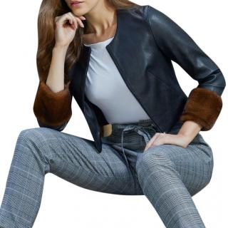 Susan Bender Leather Jacket with Mink Cuffs