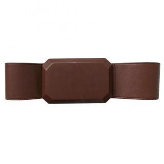 3.1 Phillip Lim Brown Leather Oversized Jewel Belt