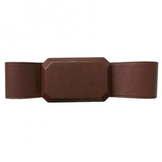 3.1 Phillip Lim Brown Leather Oversized Jewel Belt