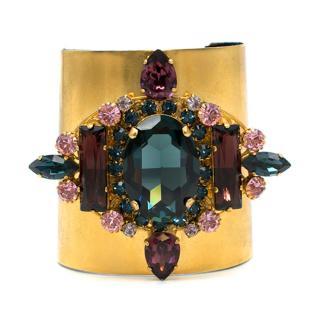 Bespoke Gold Tone Embellished Cuff Bracelet